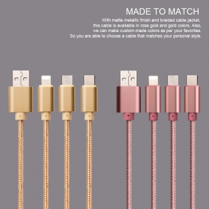 APPACS AB03861 3 in 1 나일론 편조 USB 케이블 1.2 m 3 in 1 데이터 케이블 3 in 1 충전 케이블 (Android Type-C 용)