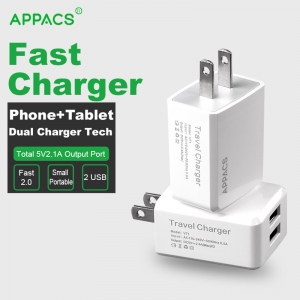 APPACS AB02030 Dual 2.1A universal portable travel wall charger