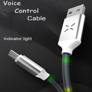 Voice Control Micro Cable For Samsung Fast Charging Cable LED Light Data Sync Wire