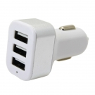 China APPACS AB01016 white 5v 3100ma 3 port usb car charger with led light factory