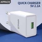 Fabbrica della Cina APPACS AB02039 High Quality Eu Plug 1 Usb Port Mini Smart Mobile Travel Usb Wall Charger